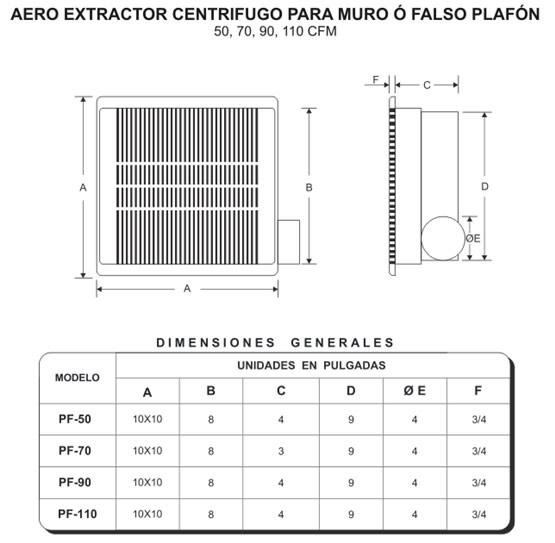 Extractores De Baño Para Falso Techo:AERO EXTRACTOR CENTRIFUGO PARA MURO, TECHO O FALSO PLAFÓN 50,70,90 Y